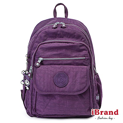iBrand後背包 簡約素色超輕盈尼龍多功能後背包-典雅紫