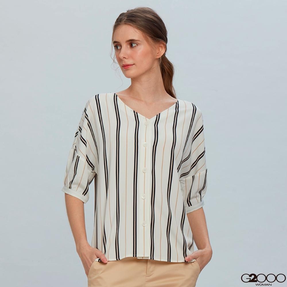 G2000條紋短袖休閒上衣-白色