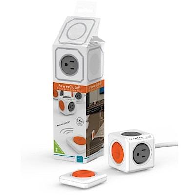 【PowerCube】 遙控延長線 遙控灰→4面插座、3孔、1.5米