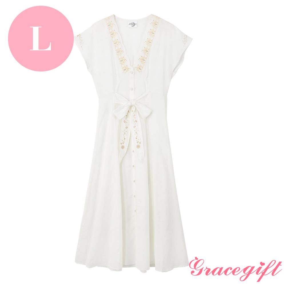 Grace gift-美少女戰士聯名電繡綁帶洋裝 L