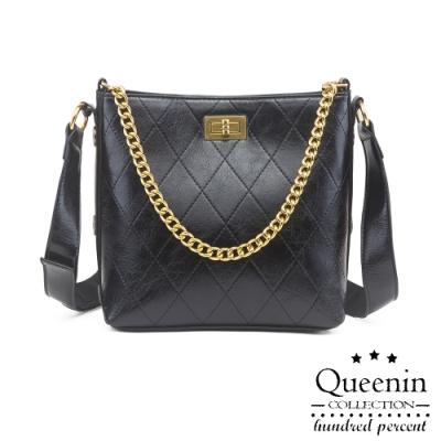 DF Queenin日韓 - 時尚復古款菱格紋鎖鏈3WAYS可拆式手提肩背包