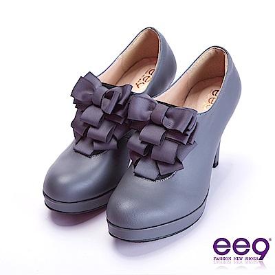 ee9 心滿益足蝴蝶結飾帶防水台高跟鞋 灰色