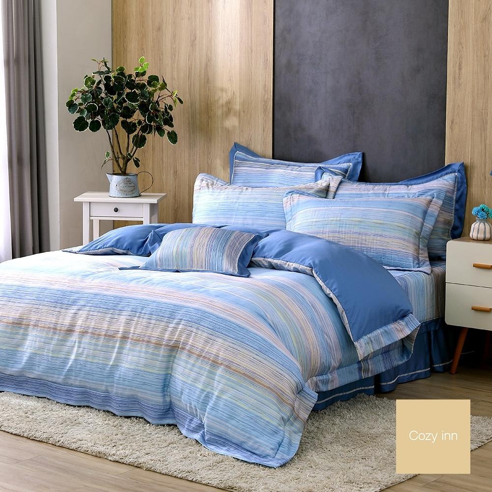 Cozy inn 輕奢線條 雙人 300織萊賽爾天絲兩用被套床包組