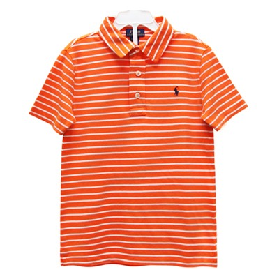 Ralph Lauren 男童經典小馬條紋短袖POLO衫-橘/白(2歲/2T)