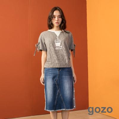 gozo 排釦造型牛仔短裙(藍色)