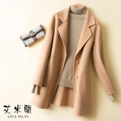 艾米蘭-韓版氣質翻領排扣保暖毛呢長版外套-6色(S-XL)