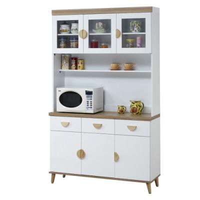 【AT HOME】北歐簡約4尺雙色餐櫃/碗盤櫃/收納櫃(愛琴海)