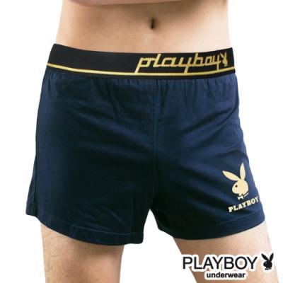 男內褲  PLAYBOY 彈性精梳棉素色燙金兔頭寬鬆四角褲-單件(丈青)