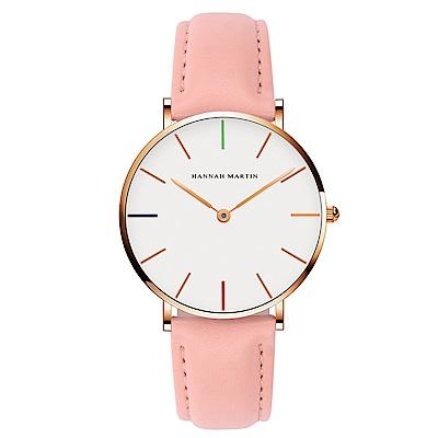 HANNAH MARTIN 彩色刻度皮帶腕錶-粉帶x36mm(HM3690-B36-FF)