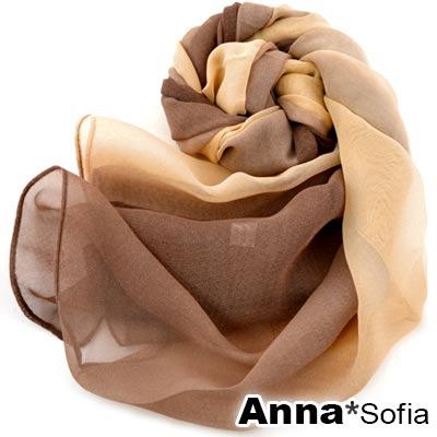 AnnaSofia 漸層幻色 雪紡圍巾長絲巾(咖橙系)