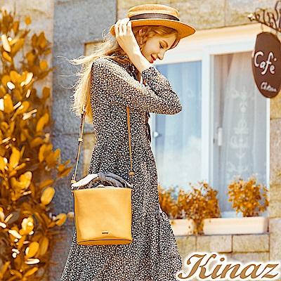 KINAZ 野餐約會兩用斜背水桶包-優雅芥黃-安妮系列
