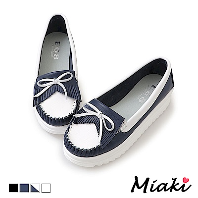 Miaki-休閒鞋通勤經典厚底莫卡辛鞋-藍白