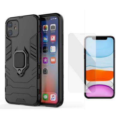 iPhone 11 防摔 盔甲指環手機殼 贈透明前膜-酷炫黑*1+贈膜*1