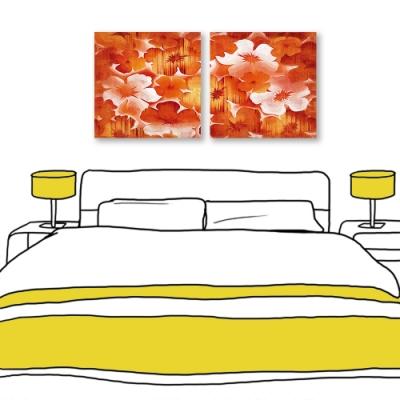 24mama掛畫-二聯式 紅色花卉 油畫風無框畫 60X60cm-迎新