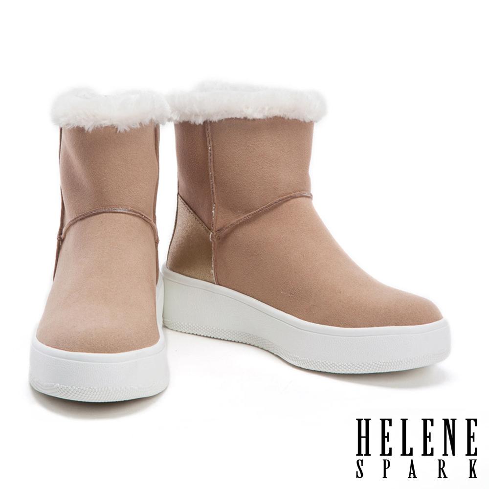 短靴 HELENE SPARK 金屬拉鍊點綴簡約素面麂布絨毛厚底短靴-杏