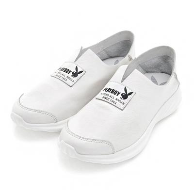 PLAYBOY率性提案 V口柔軟真皮休閒便鞋-白