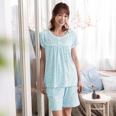 華歌爾睡衣-樂舒眠 M-L圓領短袖家居褲裝(藍綠)印花
