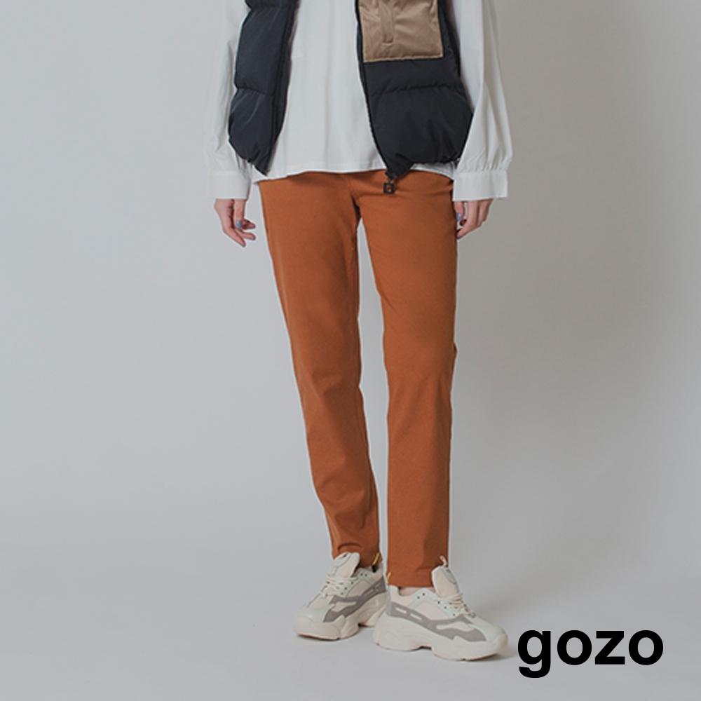 gozo-後褲口繡花彈性修身褲-兩色 product image 1