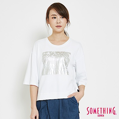 SOMETHING 綁結錫印造型短袖T恤-女-白色