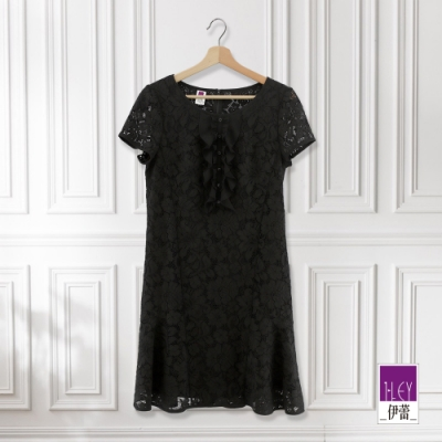 ILEY伊蕾 微展荷葉縷空蕾絲洋裝(黑)