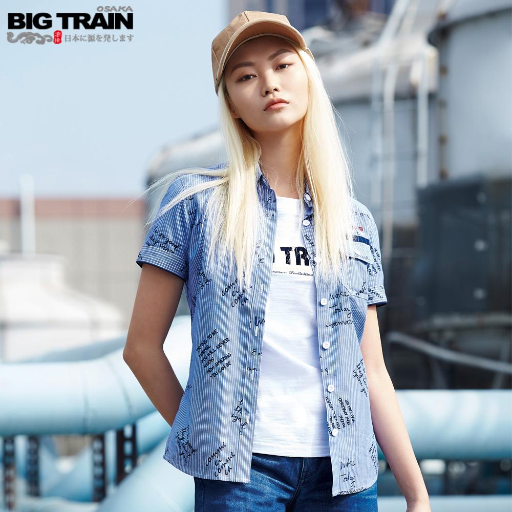 Big Train 特殊切線女襯衫-女-白底藍條 product image 1