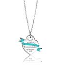 Tiffany&Co.藍色琺瑯緞帶愛心925純銀項鍊