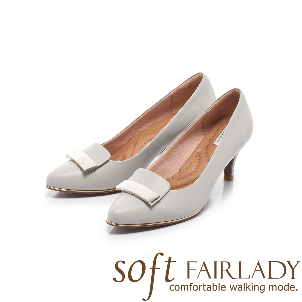 Fair Lady Soft芯太軟 方形拼接金屬扣飾高跟鞋 經典灰