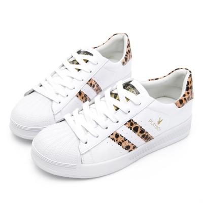 PLAYBOY 豹紋條紋仿皮休閒鞋-白豹-Y6319JY