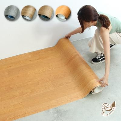 【Effect】PVC捲式耐磨仿木紋地板(1.8坪/100*200CM)-3入組