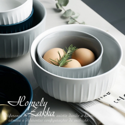 Homely Zakka 北歐創意輕奢風立體豎條紋陶瓷餐具_圓形麵碗