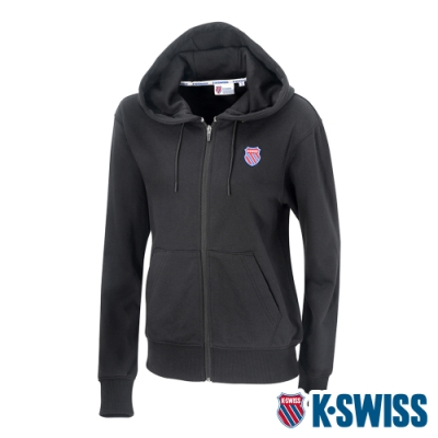 K-SWISS Court Hooded Zip-Up時尚連帽外套-女-黑