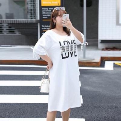 韓版中長款小露背字母印花加大T裙XL-4XL(共二色)-KVOLL