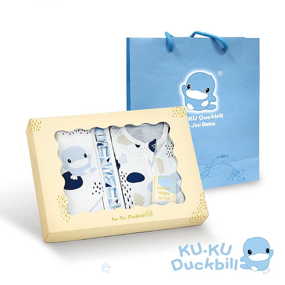 KUKU酷咕鴨 超好眠洞洞成長包巾寵愛禮盒3件組(藍點印記/粉彩印記)