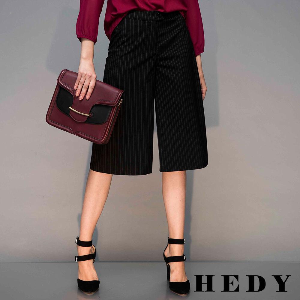 Hedy赫蒂 細條紋剪裁寬褲(黑色)