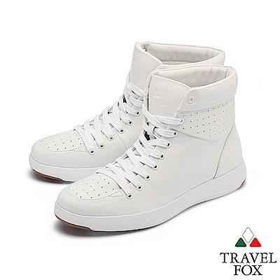 TRAVEL FOX(男) 輕雲系列 高筒超軟牛皮輕量時尚運動鞋 - 純粹白