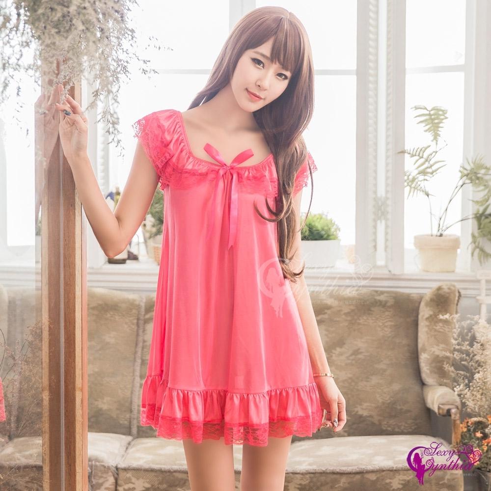 Sexy Cynthia 俏麗蕾絲荷葉小蓋袖柔緞性感睡衣-桃紅