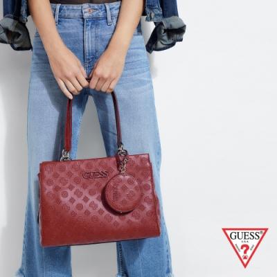 GUESS-女包-經典壓紋LOGO手提兩用包-紅
