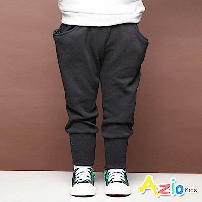 Azio Kids 長褲  素色雙口袋束口不倒絨長褲(黑)