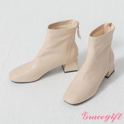 Grace gift-韓系方頭造型粗跟靴 米白