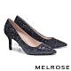 高跟鞋 MELROSE 華麗璀璨絢彩金蔥尖頭高跟鞋-藍 product thumbnail 1