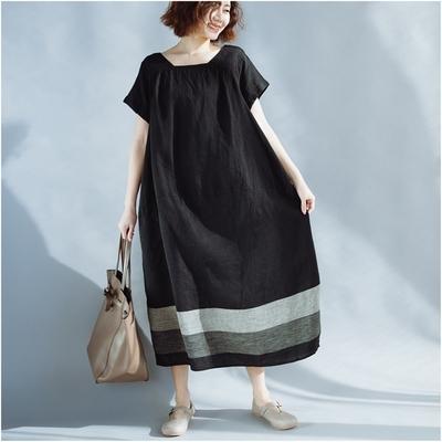 米蘭精品 連身裙短袖洋裝-拼色黑底棉麻圓領女裙子73xz42