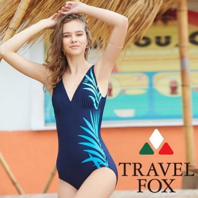 TRAVEL FOX夏之戀 印花大女連身三角泳衣