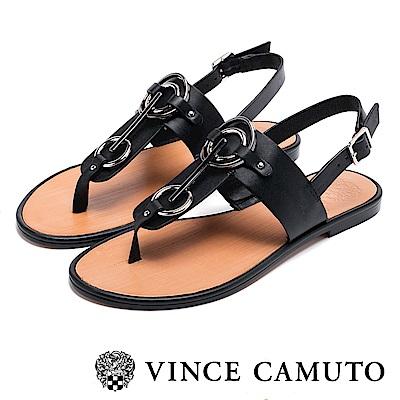 VINCE CAMUTO 個性金屬扣平底夾腳涼鞋-黑色