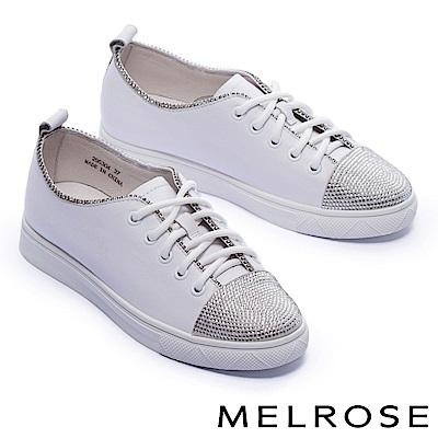 休閒鞋 MELROSE 率性奢華閃鑽拼接全真皮綁帶厚底休閒鞋-白