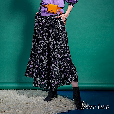 beartwo 星空閃閃雪紡造型褲子(黑色)