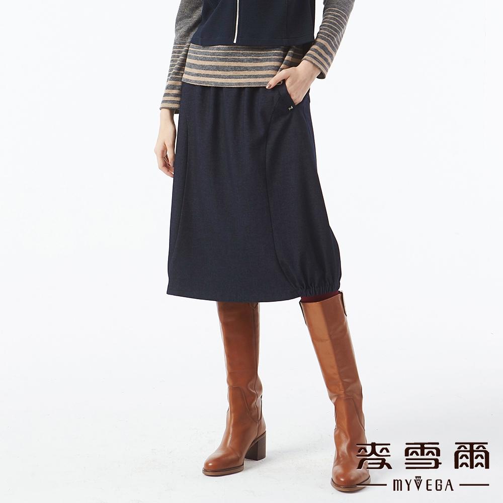 MYVEGA麥雪爾 造型釦帶鬆緊腰頭八分裙-深藍