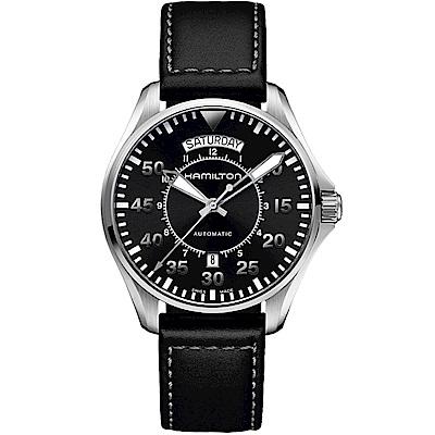 漢米爾頓卡其航空系列PILOT DAY DATE機械腕錶(H64615735)-黑