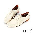 HERLS 全真皮小方頭開襟綁帶休閒鞋-米色
