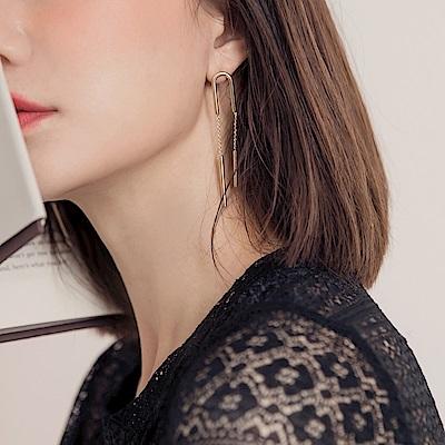 質感U型垂墜長條耳環-OB大尺碼