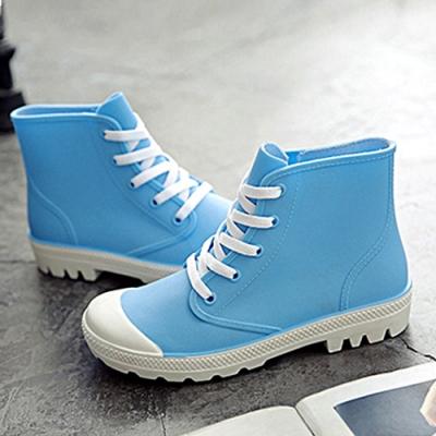 韓國KW美鞋館-街頭時尚防水輕量仿帆布長筒雨鞋 藍